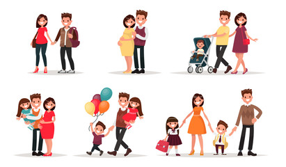 Set of characters showing the stages of development of the famil