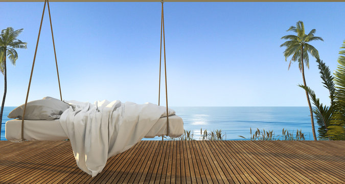 3d rendering beautiful hanging bed on terrace near beach and sea with nice sky view and palm tree in hawaii in summer vacation