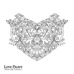 Decorative Love Heart with floral decorative vintage pattern. Coloring book for adult. Outline drawing coloring page.