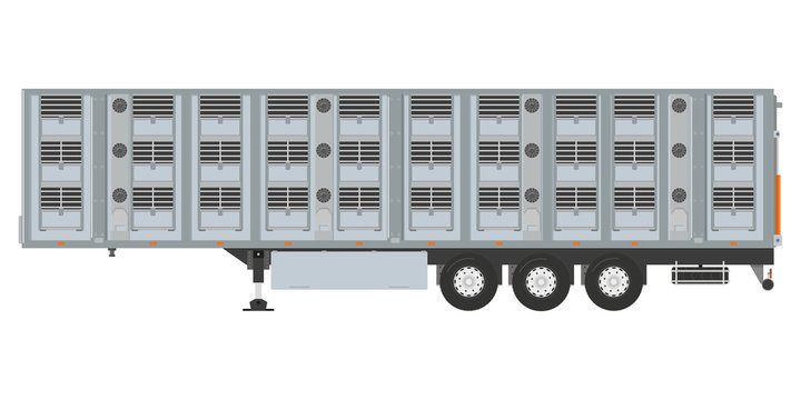 Isolated cattle trailer on a white background. Vector illustration