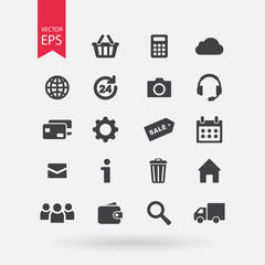 Web icons set isolated on white background. Universal media, communication buttons. Trendy modern Flat style for graphic design, logo, Web site, social media, UI, mobile app, EPS10
