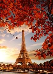Obraz Wieża Eifla opleciona czerwonymi liśćmi - fototapety do salonu