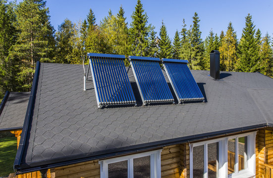 Solar water heater installed on a roof