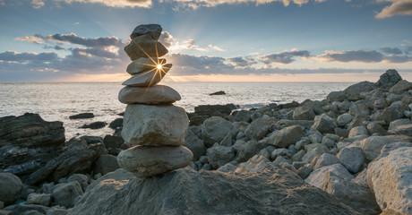 Rock Balancing at Sundown
