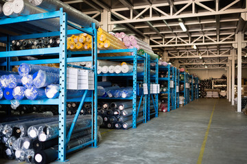 Textile warehouse storing materials