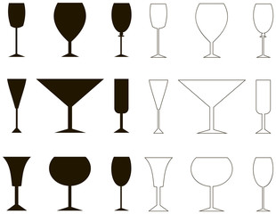 Vine glass, silhouette  and outline