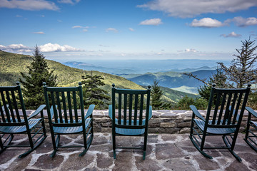 chairs and beautiful mountain view