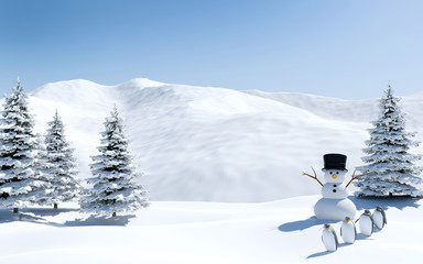 Arctic landscape, snow field with snowman and penguin birds in Christmas holiday, North pole