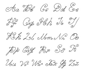 Doodle font isolated on white