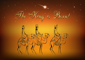Stylized Biblical Christmas etude: three Wise Men are visiting the new King of Jerusalem Jesus Christ after His birth
