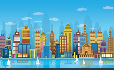 City Game Backgrounds with boats on the river ,2d game application. Vector Illustration for your application , project.