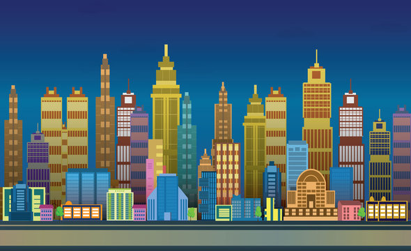Night City Game Backgrounds with  ,2d game application. Vector Illustration for your application , project.