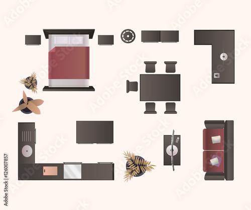 """Kitchen Set Top View: """"Modern Furniture Isolated On White Background. Design"""