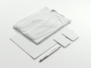 Bright mockup with white black t-shirt. 3d rendering