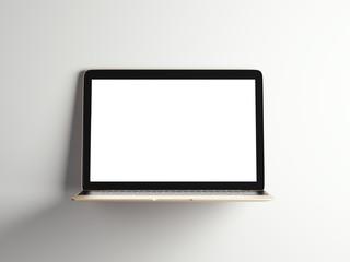 Opened golden modern laptop. 3d rendering