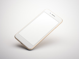 Golden modern smartphone with blank screen. 3d rendering