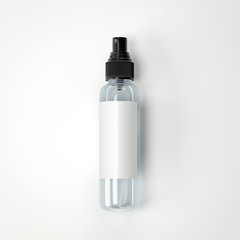 Cosmetic plastic transparent bottle with blank label. 3d rendering