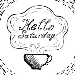 Hello Saturday cup background