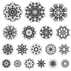 Set of Different Tribal Rosette Tattoo Design Isolated on White Background. Polynesian Design