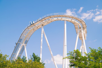 Roller coaster at the amusement park.