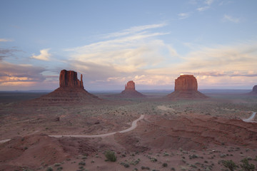 The sun setting on Monument Valley, Utah