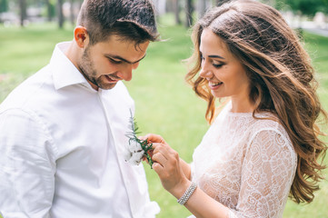 gorgeous wedding couple in the park