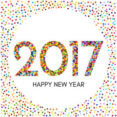 Happy New Year 2017 label with colorful confetti. New Year and Xmas Design Element Template. Vector Illustration.