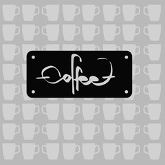 the text coffee written, vector illustration