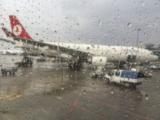 Turkish Airlines plane waiting for boarding in Istanbul, Turkey