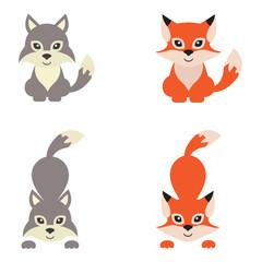 cartoon wolf and fox set