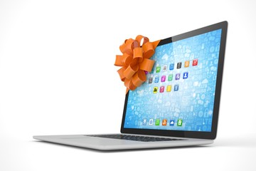Tied laptop with red bow on white background. Modern present or gift for birthday, holiday, christmas. 3D rendering.