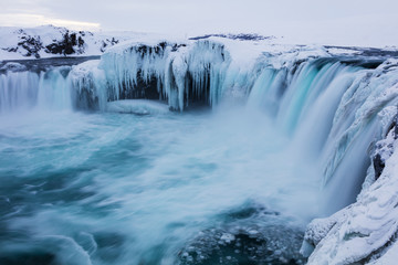 Godafoss Waterfall Winter Landscape
