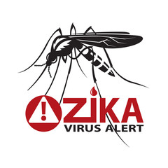 image of Zika virus alert with mosquito prohibited sign