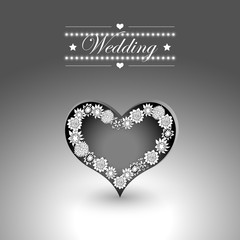 Heart and other elements for valentine s day or weddings. Black and white colors. Vector eps10 illustration