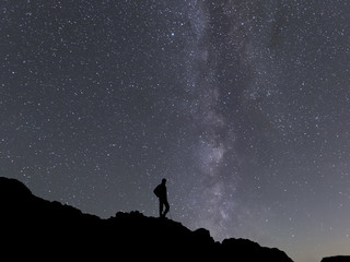 beauty Milky way landscape on square format with man silhouette