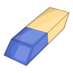 White eraser with blue wrapper icon. Cartoon illustration of eraser vector icon for web design