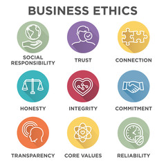 Business Ethics Icon Set with social responsibility, corporate core values, reliability, transparency, etc.