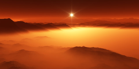 Canvas Prints Cuban Red Titan, largest moon of Saturn with atmosphere. Surface landscape of Titan. Evaporating the hydrocarbon lakes.