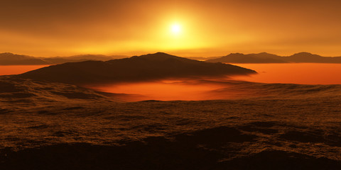 Titan, largest moon of Saturn with atmosphere. Surface landscape of Titan. Evaporating the hydrocarbon lakes.
