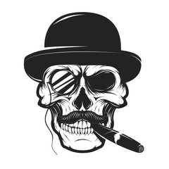Skull in hat with cigar and monocle. Design element for logo, label, emblem, sign, brand mark, t-shirt print. Vector illustration.