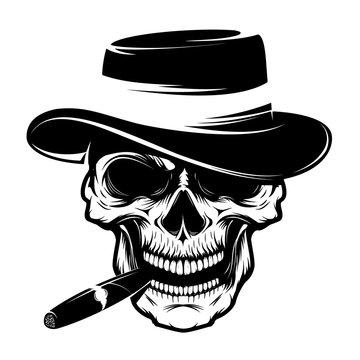 Skull with cigar and hat. Design element for emblem, badge, sign, t-shirt print. Vector illustration.