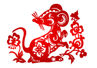 Zodiac Sign for Year of Rat, The Chinese traditional paper-cut art