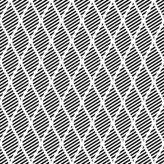 Seamless vector abstract pattern. Black and white symmetrical geometric repeating background with decorative rhombus. Series of Geometric Seamless Patterns.