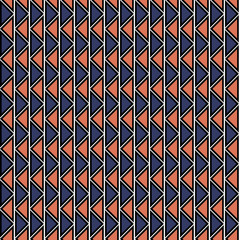 Seamless vector geometric pattern. Red and blue background with triangles in the shape of zigzag. Series of Decorative and Ornamental Seamless Patterns.