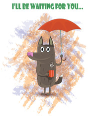 Dog standing under red umbrella on rainy and hold cup of tea