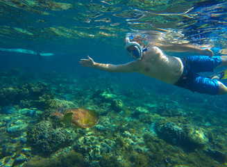 Snorkeling man with sea turtle in tropical lagoon