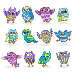 Set of funny colored owls on a white background isolated