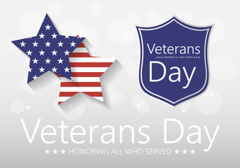 Vector illustration Veteran's day poster template Stars with U.S.A