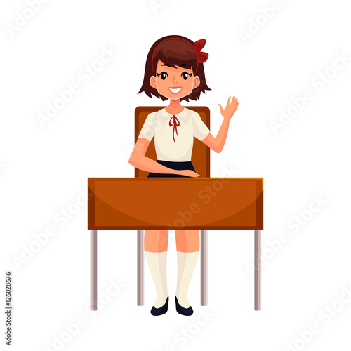 "Clever School Girl: ""Clever School Girl Sitting At The Desk And Raising Hand"