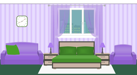 Bright colors bedroom interior with furniture and cityscape outside the window
